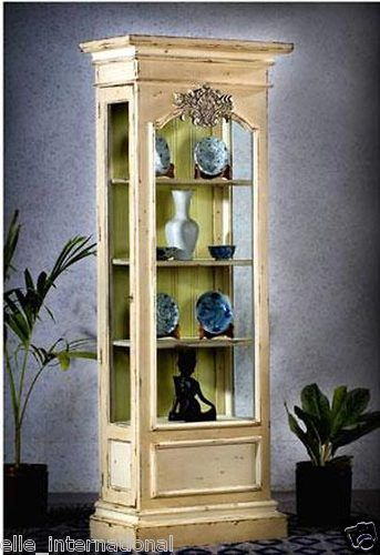 French Country Antique White Distressed Finish Curio