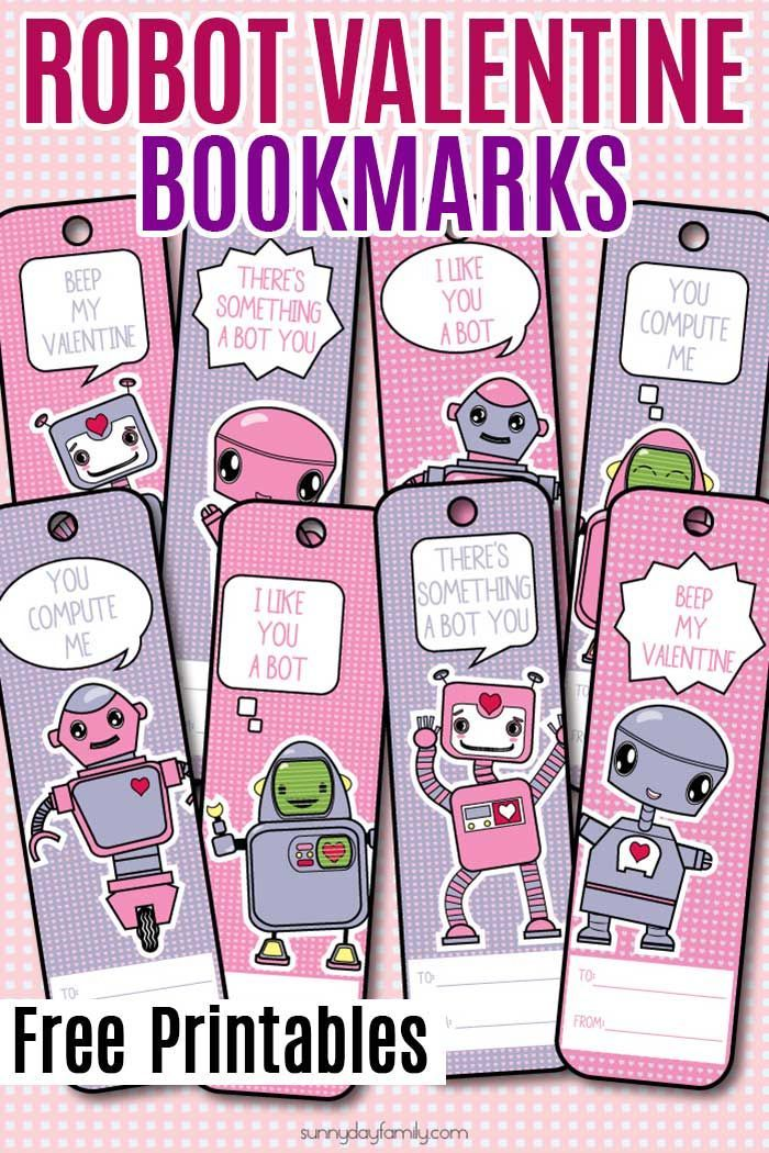 Free Printable Robot Valentine Bookmarks for Kids | Free printable ...