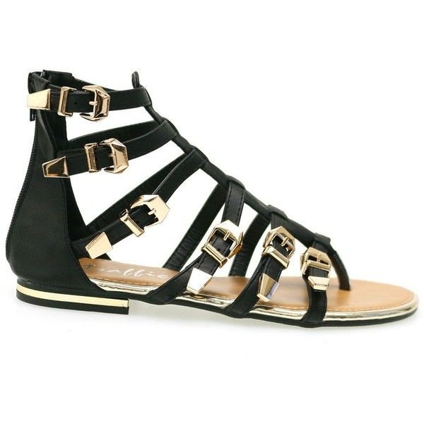 Fedra Black Gold Buckled Zipper Gladiator Flat Sandals (165 PEN) ❤ liked on Polyvore featuring shoes, sandals, black sandals, black shoes, black zipper shoes, black flat sandals and zipper sandals