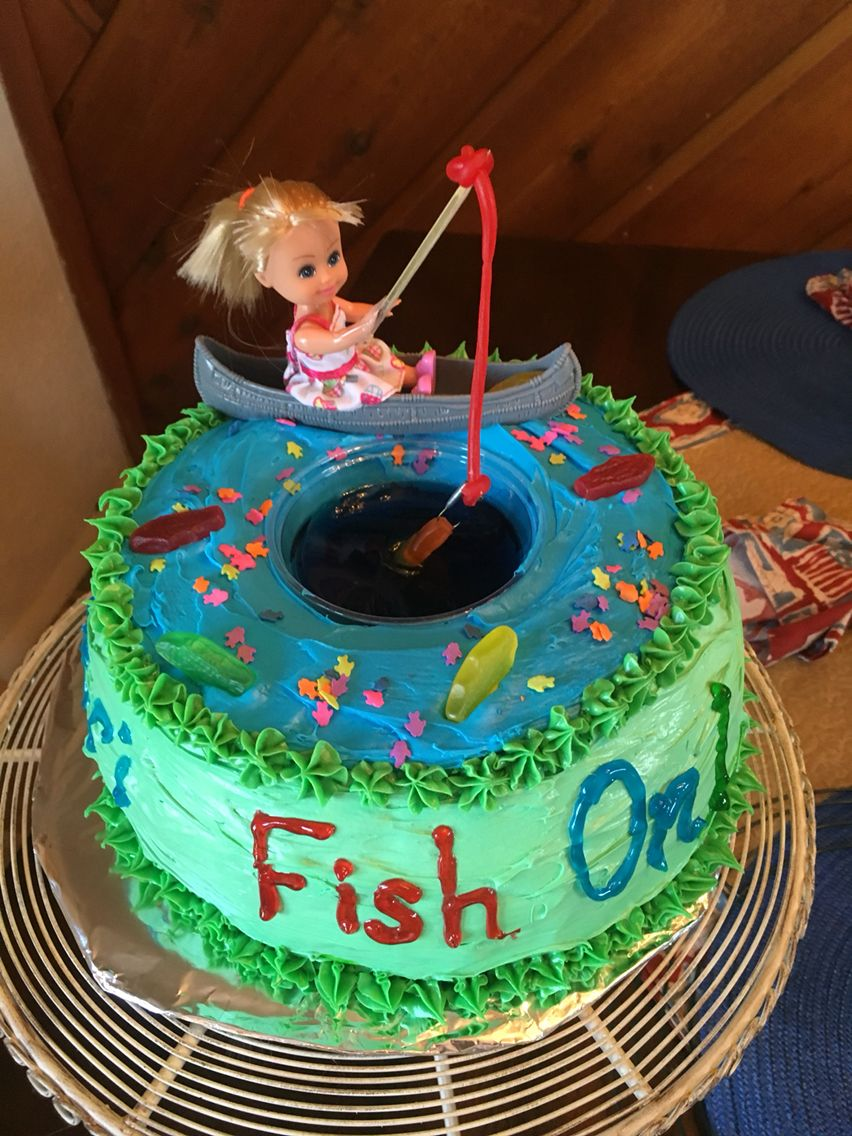 Awesome Girl Fishing Cake Fishing Party Theme Fish Cake Birthday Personalised Birthday Cards Cominlily Jamesorg