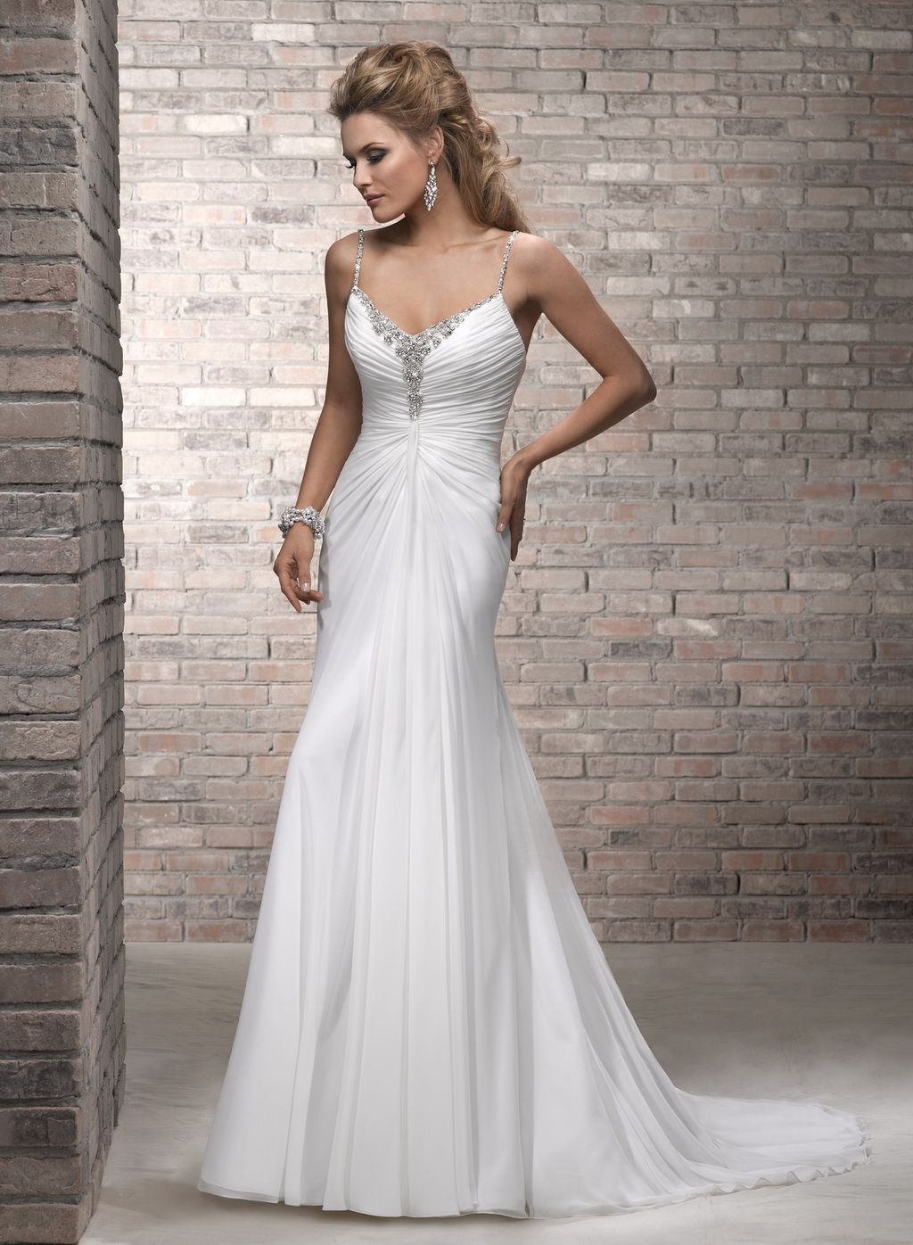 62930b40 Sheath/Column Spaghetti Straps Sleeveless Chiffon Wedding Dress #USAHSMG004