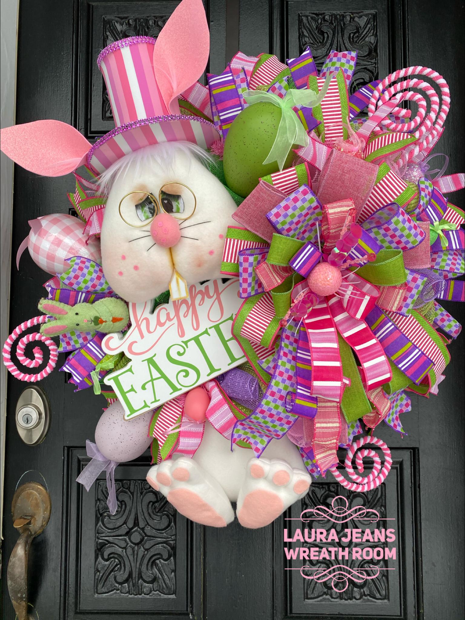 Easter ribbon spring ribbon wreath ribbon wreath supplies ribbon craft supplies craft ribbon bunny ribbon wreath attachment wreath decor eas