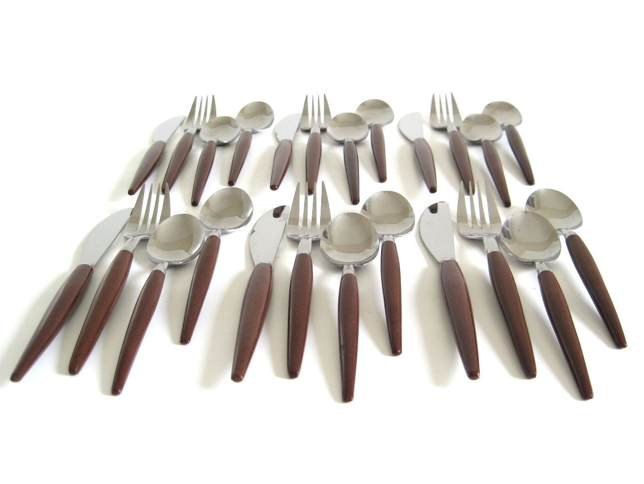 Stainless Flatware Set Wood Handles Basic Service For 6 An Brown Handle Silverware Danish Modern By Lauraslastditch On Etsy