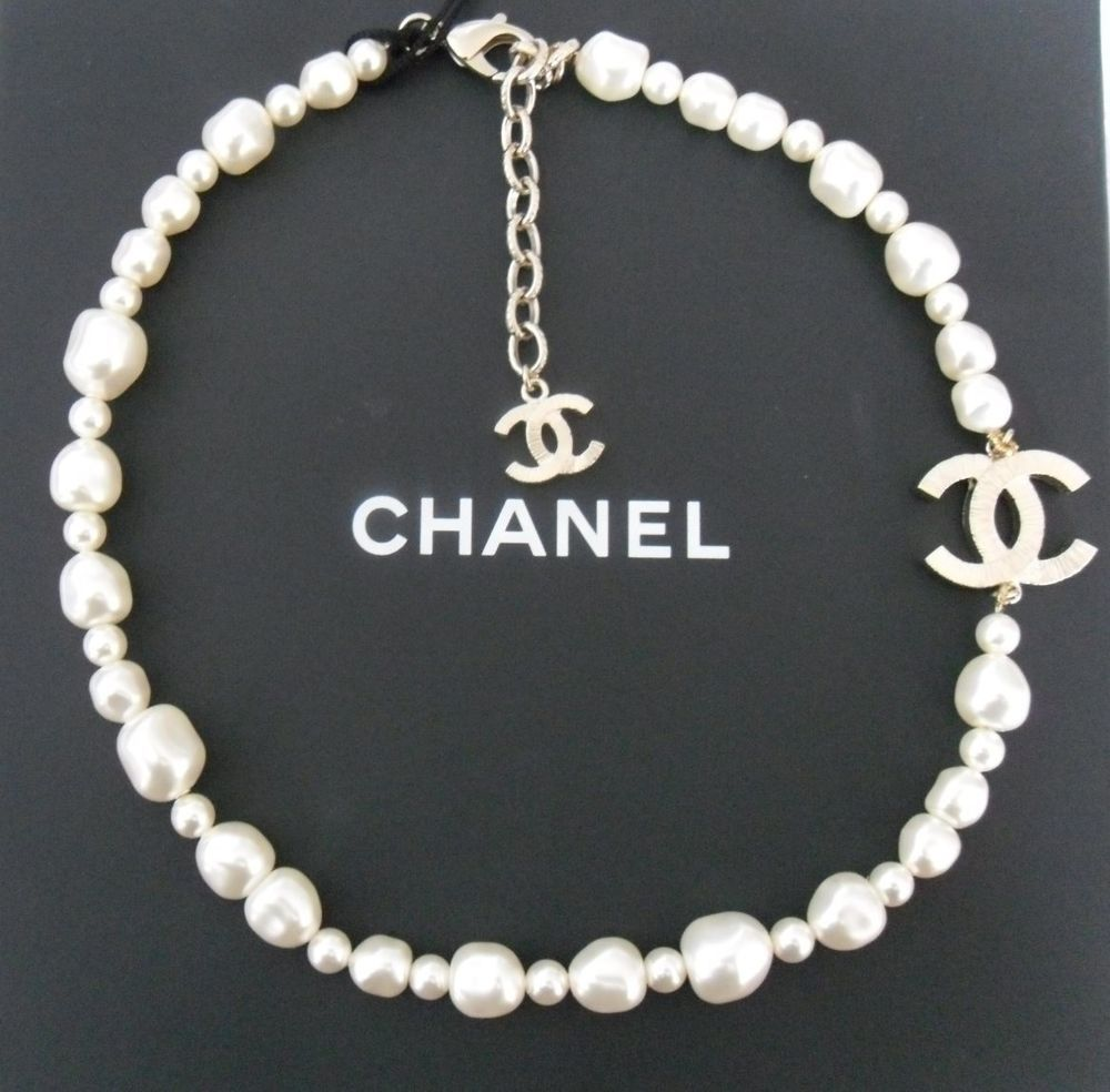 Chanel Classic Cc Logo Short Multisize Pearl Adjustable Chain Necklace Nwt  #chanel #