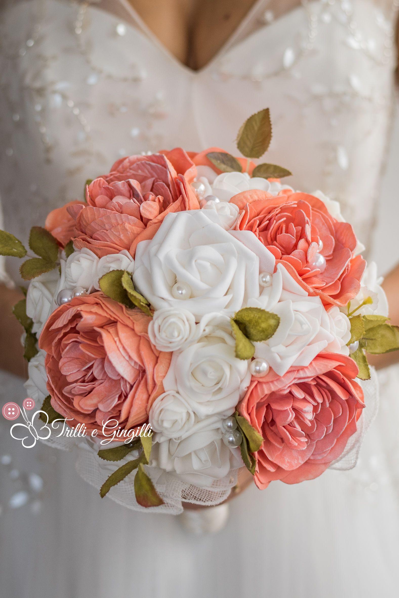 Bouquet Sposa Color Pesca.Peach Peony Bridal Bouquet Bouquet Sposa Peonie Pesca By Trilli