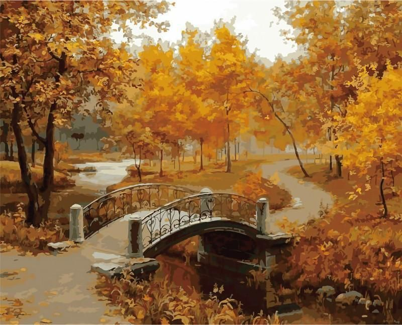 Bridge Forest Tree Landscape Paint By Numbers Kit DIY Number Canvas Painting Oil