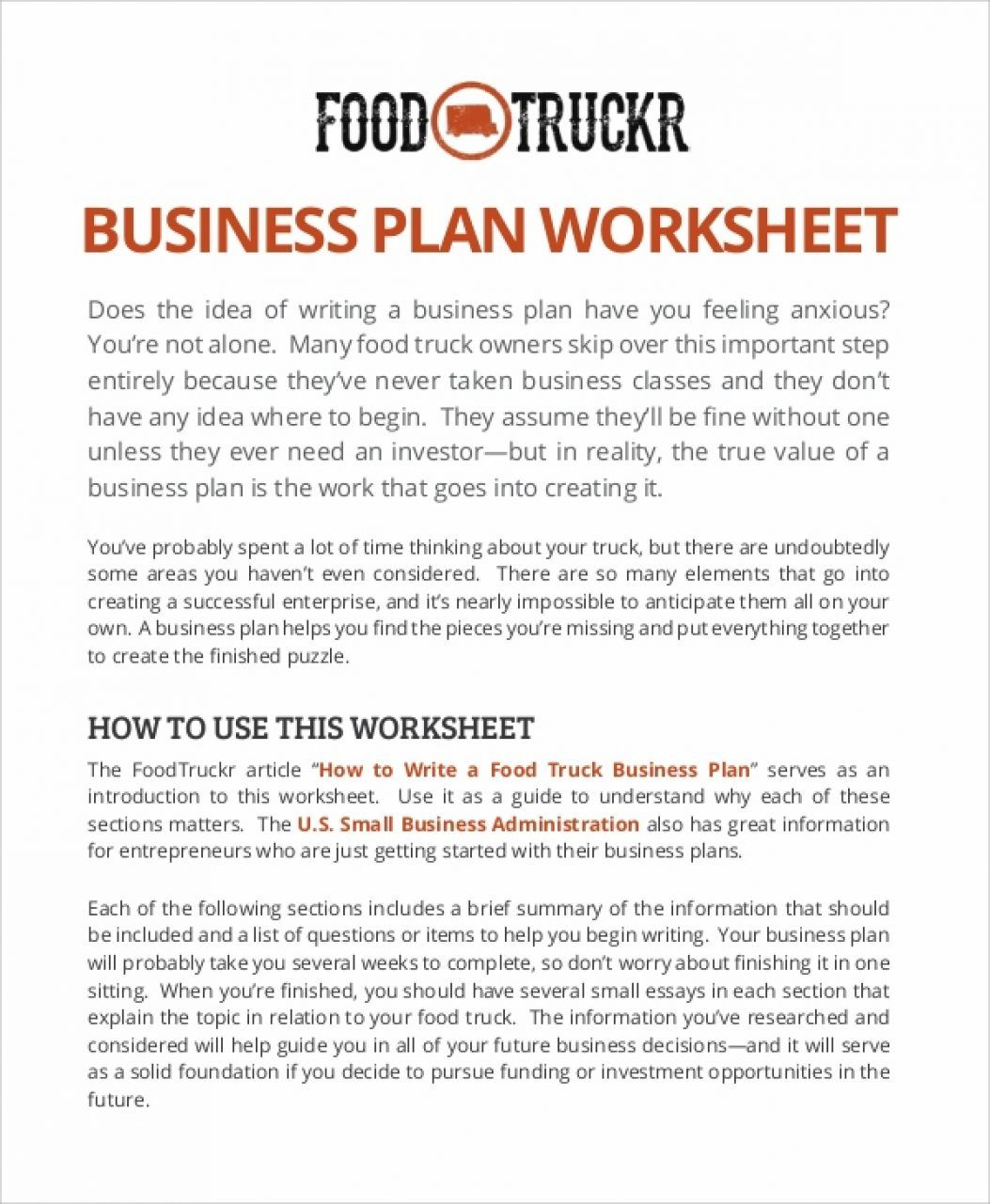 Food Truck Business Plan Sample Template Pdf K For E2 80