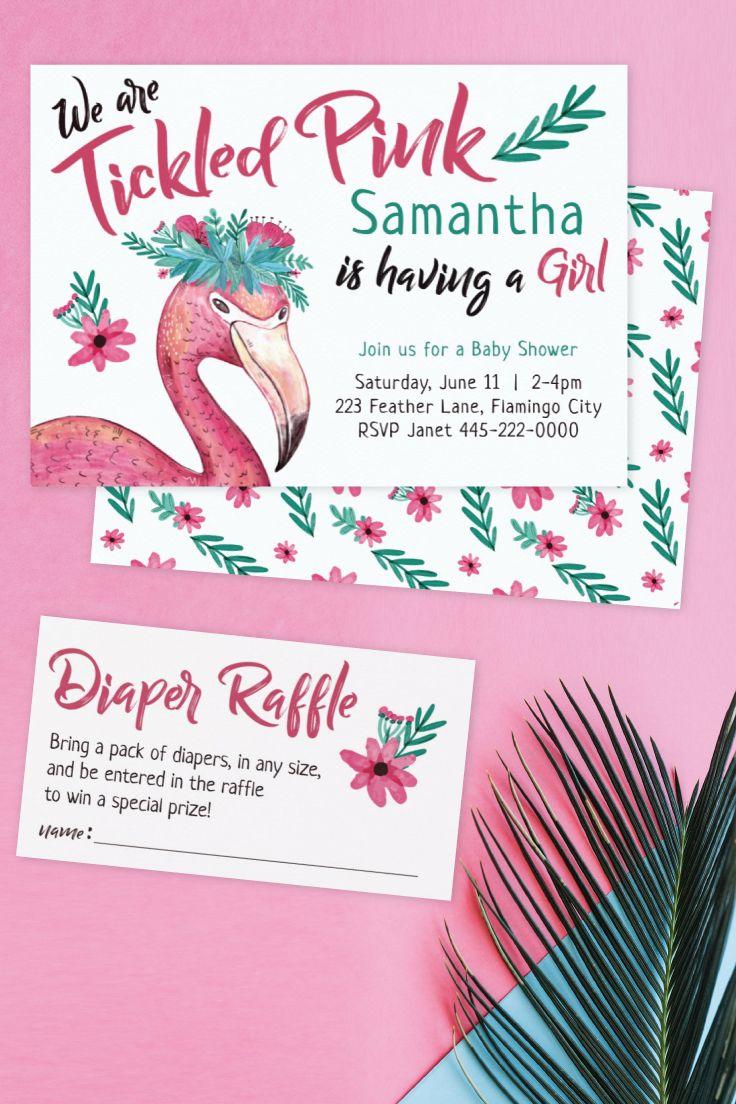 Flamingo Tickled Pink Baby Shower Invitation | Flamingo baby shower ...