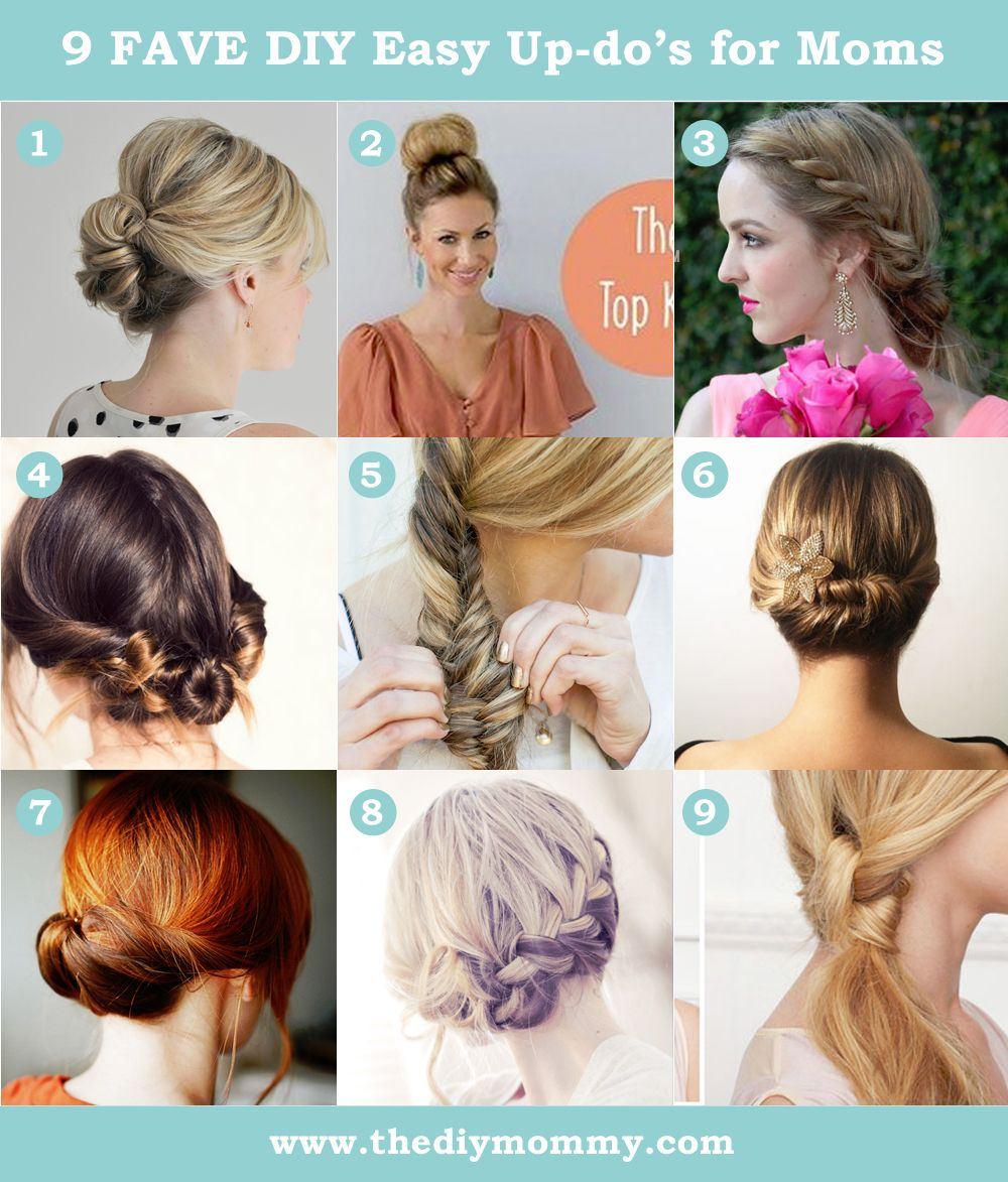 9 Favourite Easy Updos For Moms The Diy Mommy Easy Hairstyles Hair Styles Mom Hairstyles
