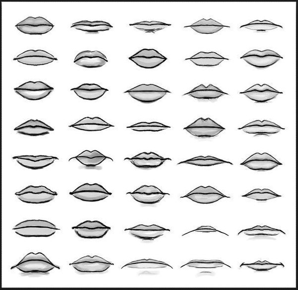 Line Drawing Lips : Different types of lips sketches and line art for