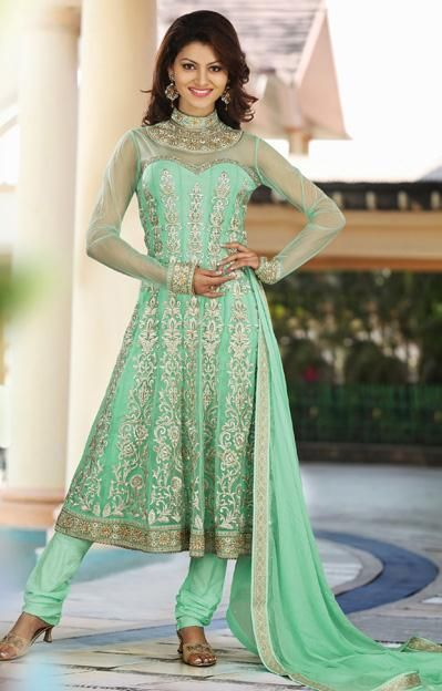 a859edca8fb  110.84 Green A Line Embroidered Faux Georgette Anarkali Salwar Suit 26032