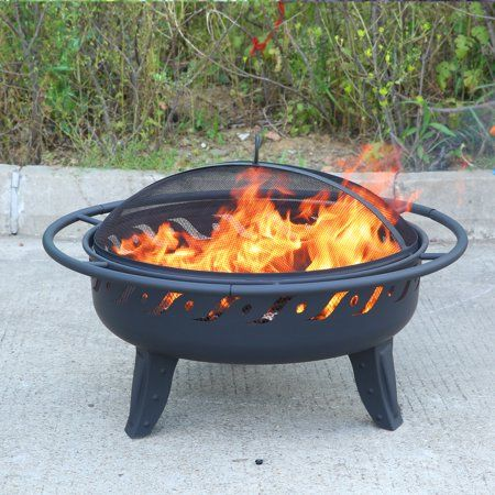 Micasa 30 Inch Fire Pit With Spark Screen And Safety Ring For Outdoor Wood Burning Or Charcoal Use Only Black Products Safety Rings Charcoal Uses Wood