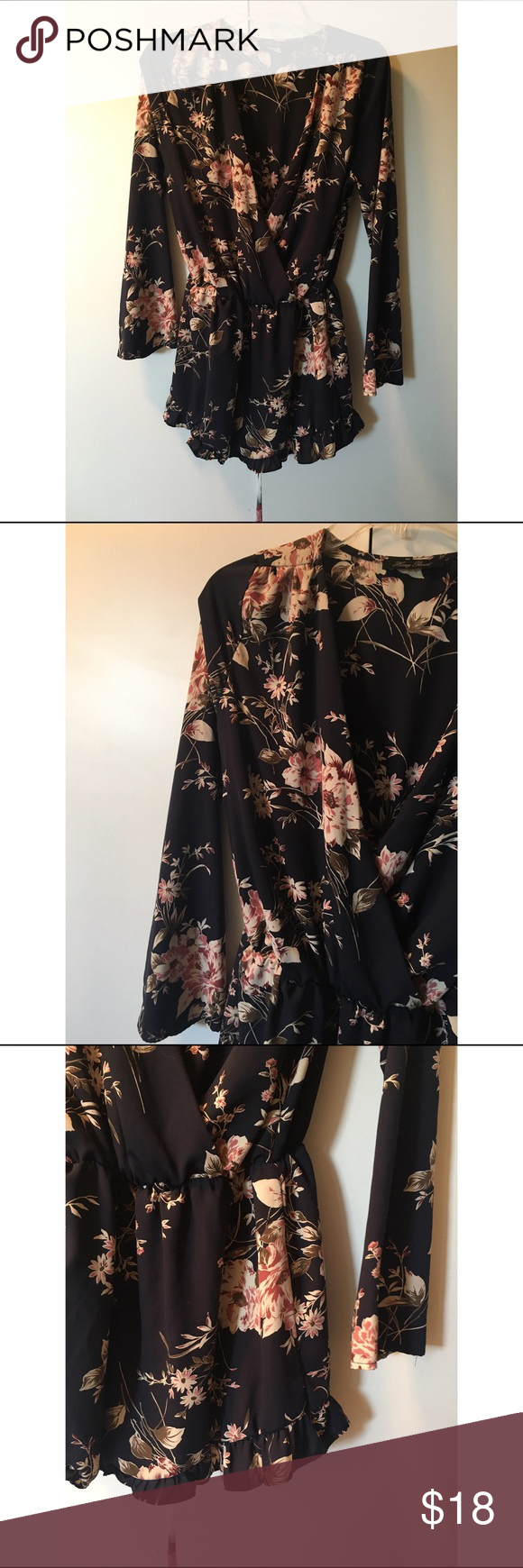 """Floral romper Adorable romper. Has a """"romantic"""" feel to it. Can be worn with a bralette peaking out! ❌No trades Runway 7 Dresses"""