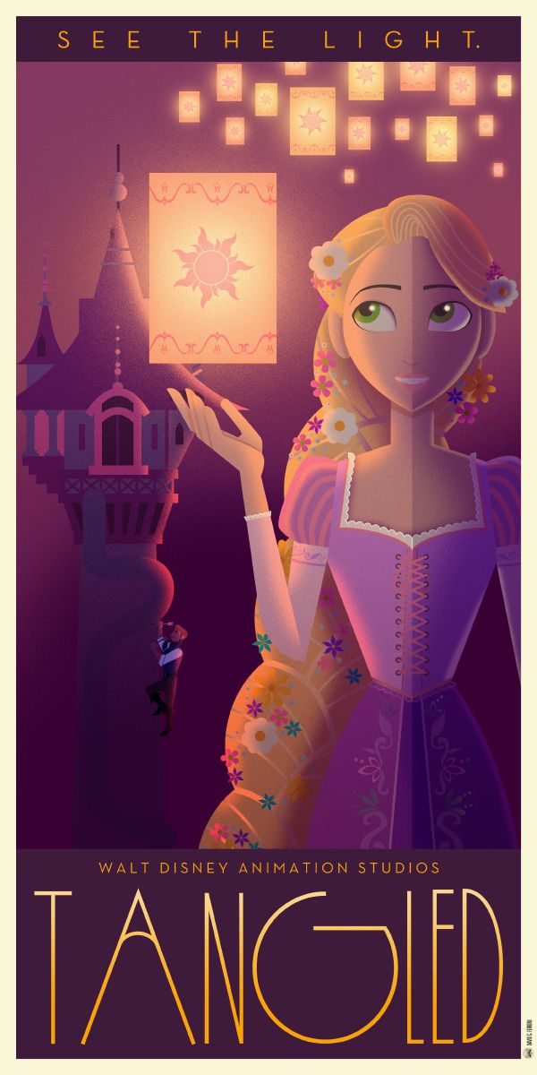 art decostyle poster art for classic disney animated