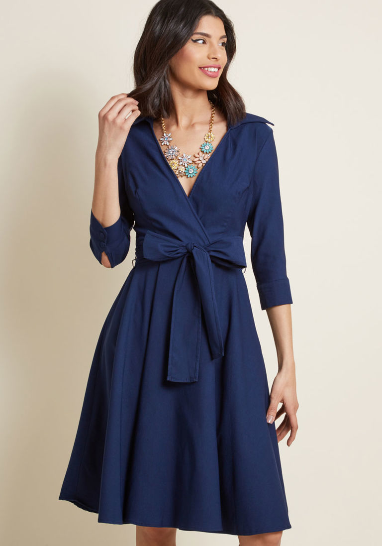 Pure polish collared dress in xl long fit u flare midi products