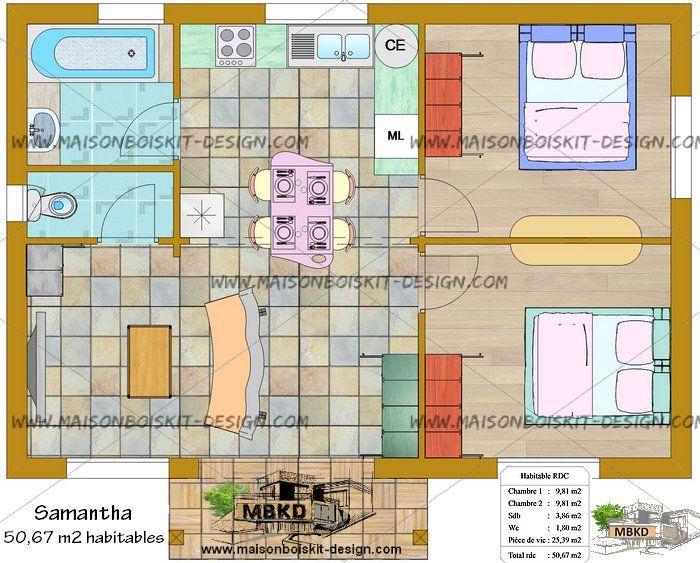 Plan cottage hll 62m HLL - Habitation légère de loisirs Pinterest
