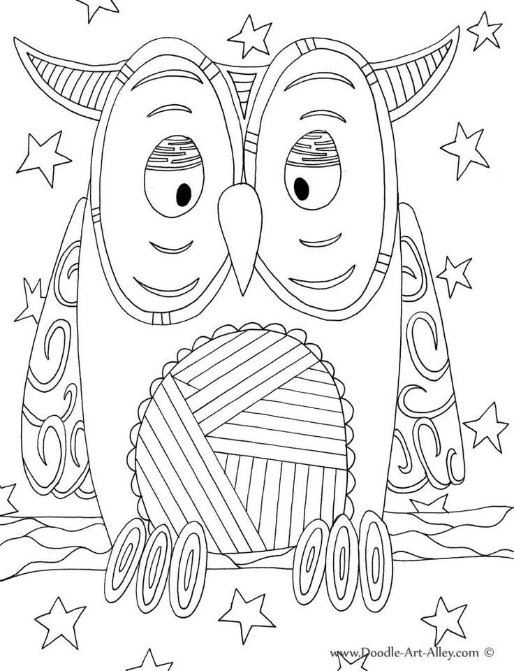 Bird Coloring Pages Doodle Art Alley Owl Classroom Animal