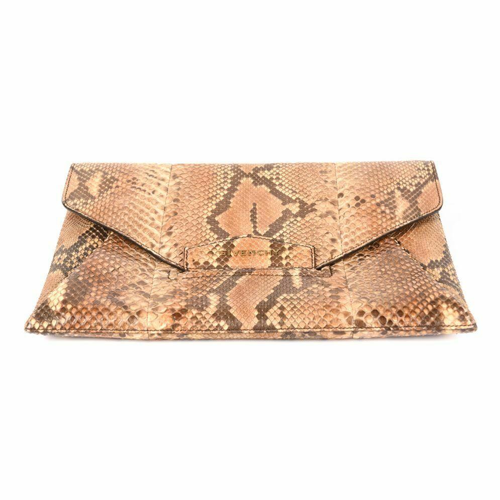 Givenchy Clutch Bag Antigona Python Envelope Brown
