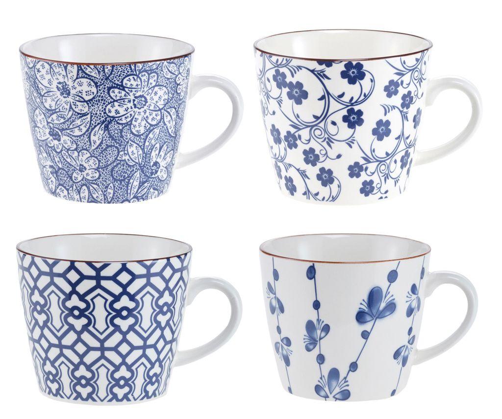 4er Set Becher China, blau/weiß   Servies enzo   Pinterest   Becher ...