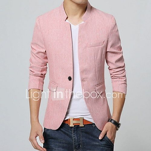 Men S Solid Casual Blazer Cotton Long Sleeve Blue Pink Gray 2020 Us 28 34 Blazer Outfits Casual Blazer Outfits Men Pink Blazer Outfits
