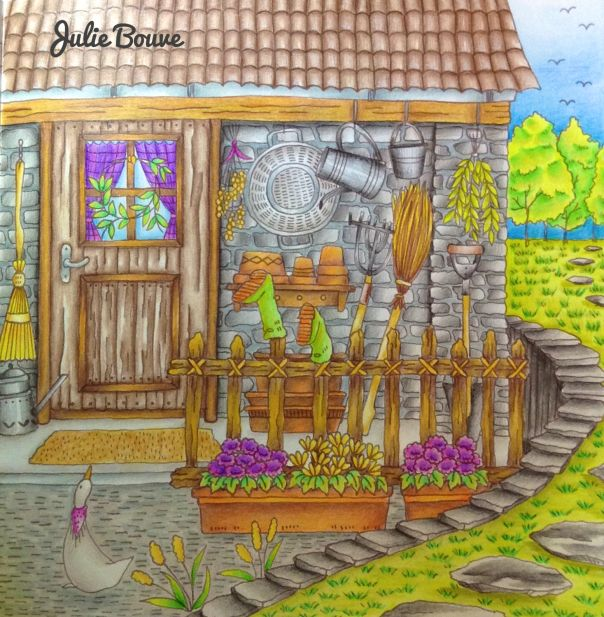 """Julie Bouve with a coloring video for a page from """"Romantic Country the Second…"""