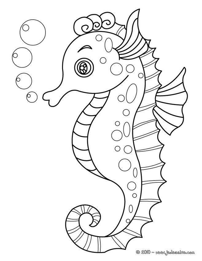 Joli Coloriage D Un Hippocampe A Imprimer Gratuitement Ou Colorier En Ligne Sur Hellokids Com Coloriage Hippocampe Coloriage Poisson Coloriage Mer