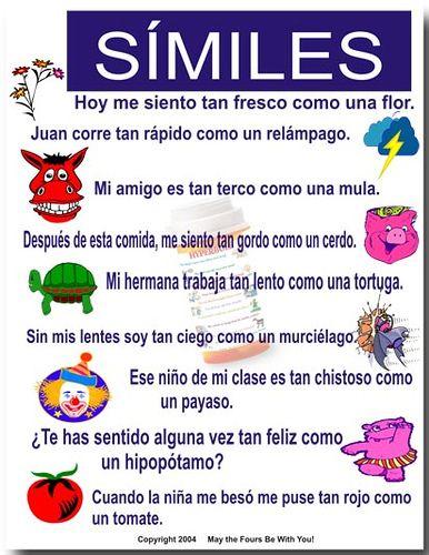 Similies | Spanish classroom | Pinterest | Simile, Spanish and Learn ...