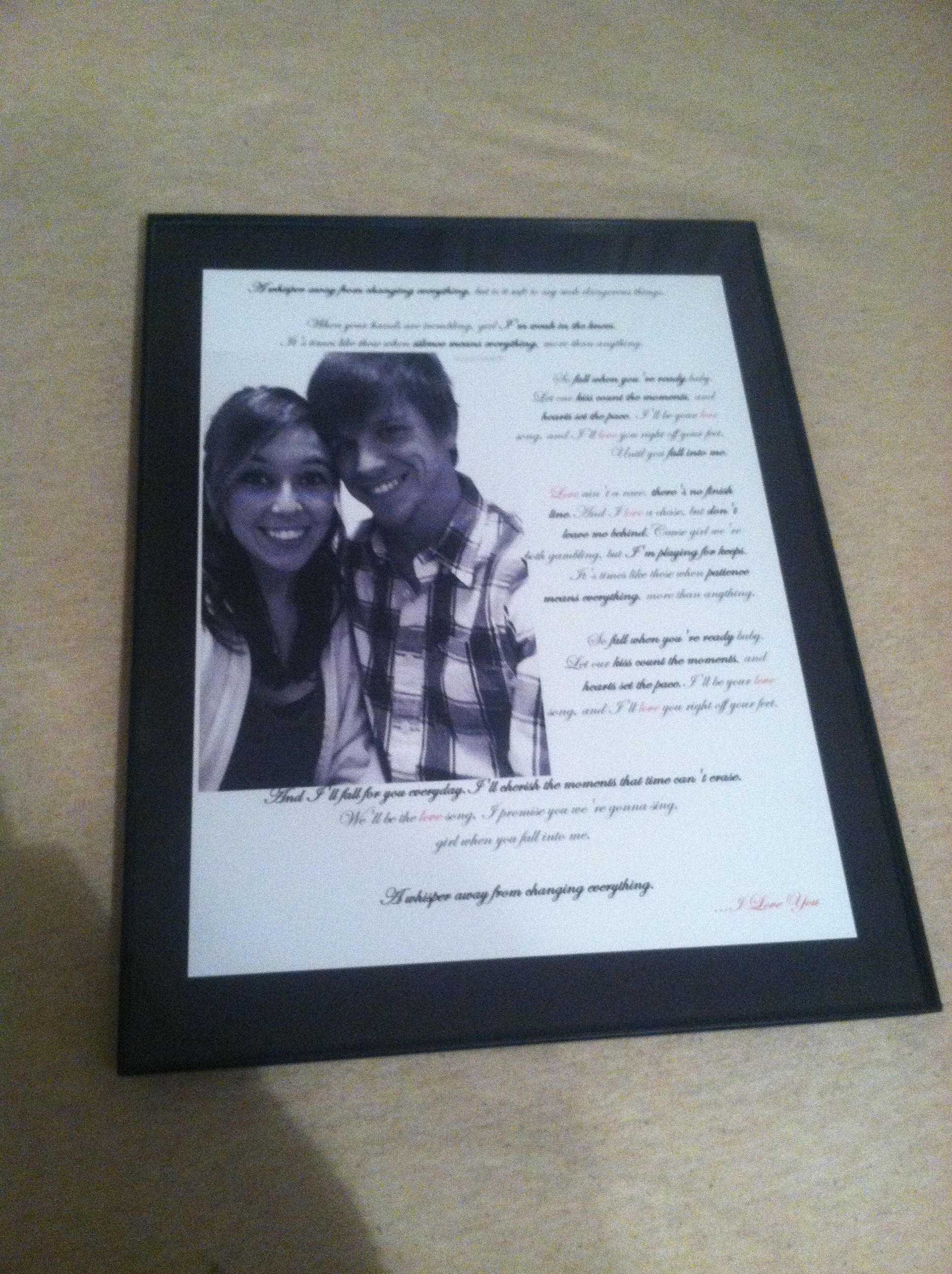 Picture with song lyrics diy boyfriend gift gifts pinterest diy boyfriend gift solutioingenieria Image collections