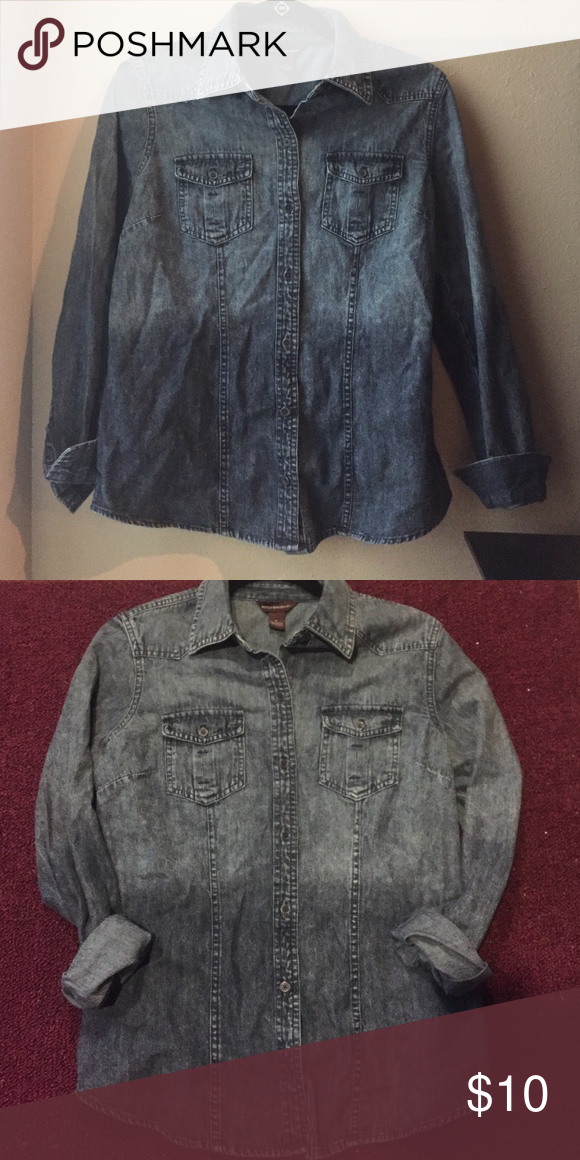 """Denim Button Up 🎀 ombré denim button up dark wash western grunge 🎀 Bust: 37"""" 🎀 Length: 26""""  🛍 BRAND NEW w/o tags 🛍100% cotton  📦I ship orders within 24 hours (excluding weekends)📦  🚫No Holds🚫No Trades Bit & Bridle Tops Button Down Shirts"""