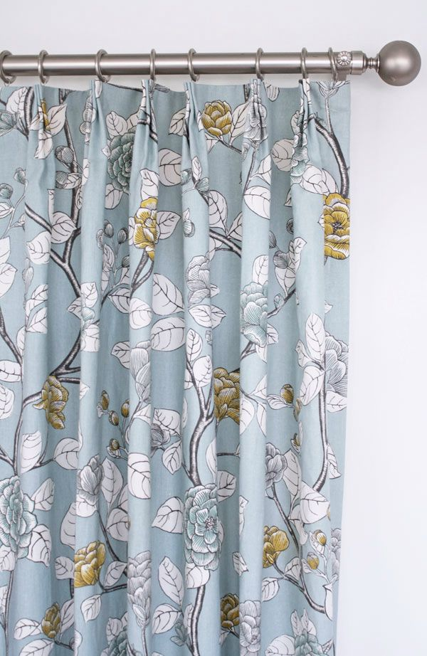 Blue Yellow And Grey Floral Drapes By Www Tonicliving Com