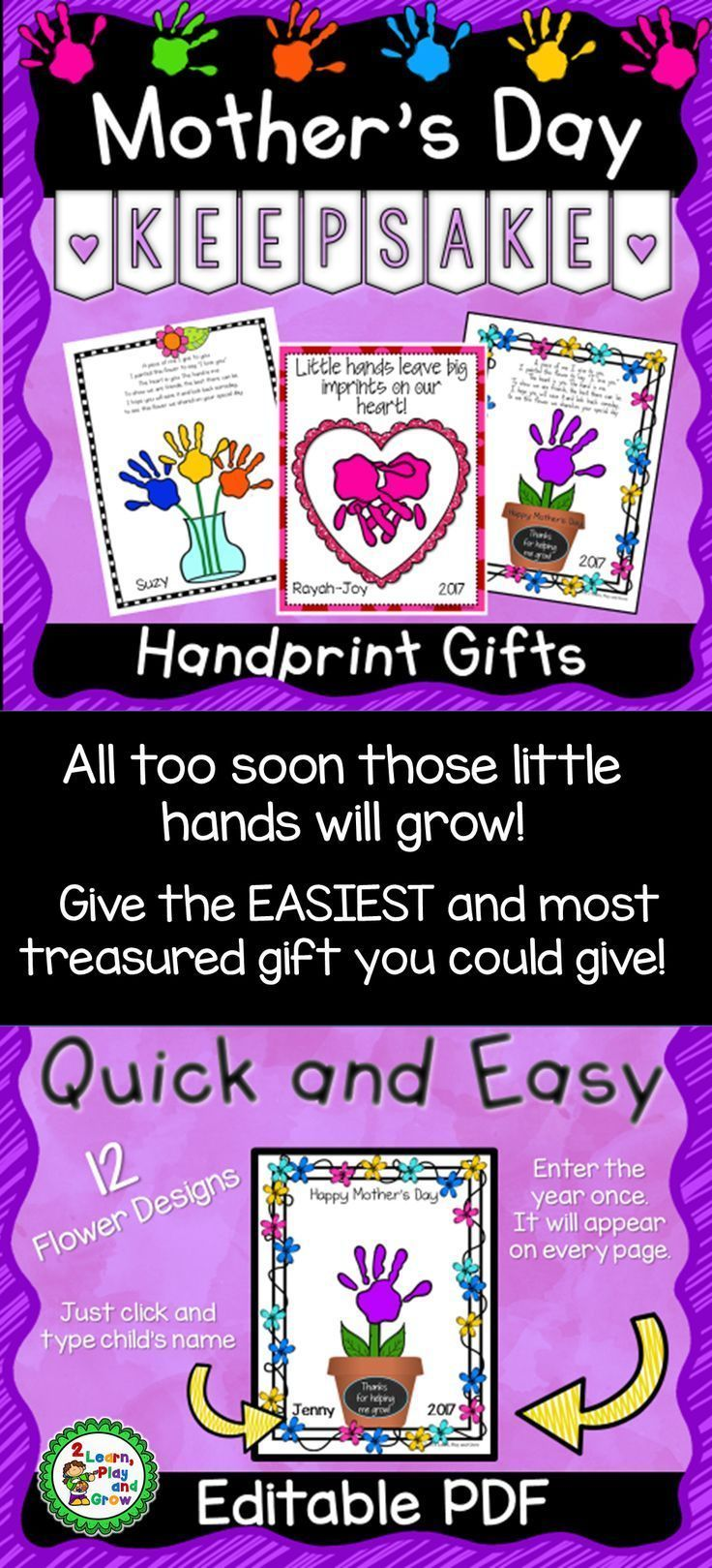 Mothers day handprint poem editable 25 versions and 30