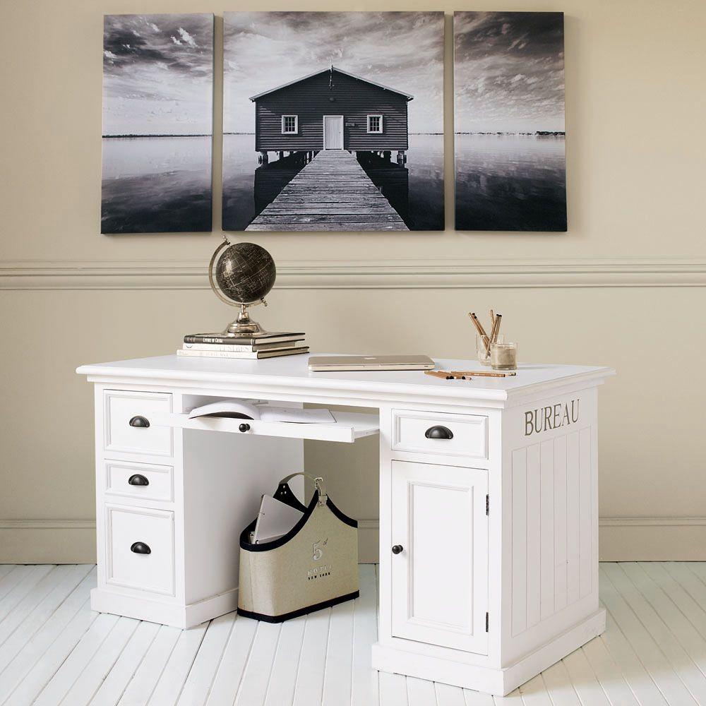 Scrivania ad 1 anta e 4 cassetti bianca | Bureaus, Newport and Paint ...