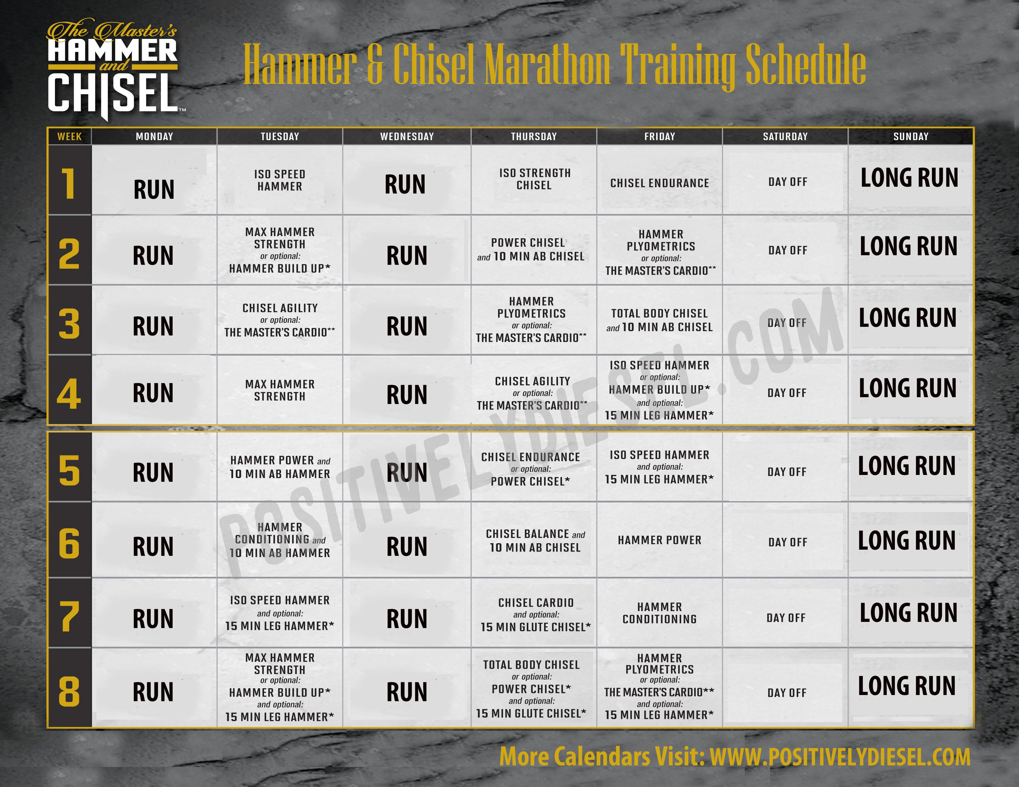 Hammer and Chisel Calendar (workout schedule) to save and print