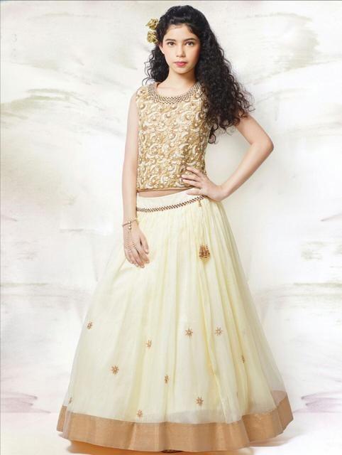 05cabbe1258 Golden & Off White Color Girl's Lehenga Choli   Kids Fashion - Girls ...