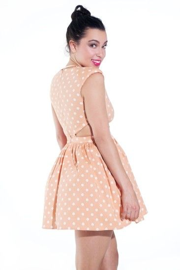 Peach and White Polka Dot Dress » Perfect Haze