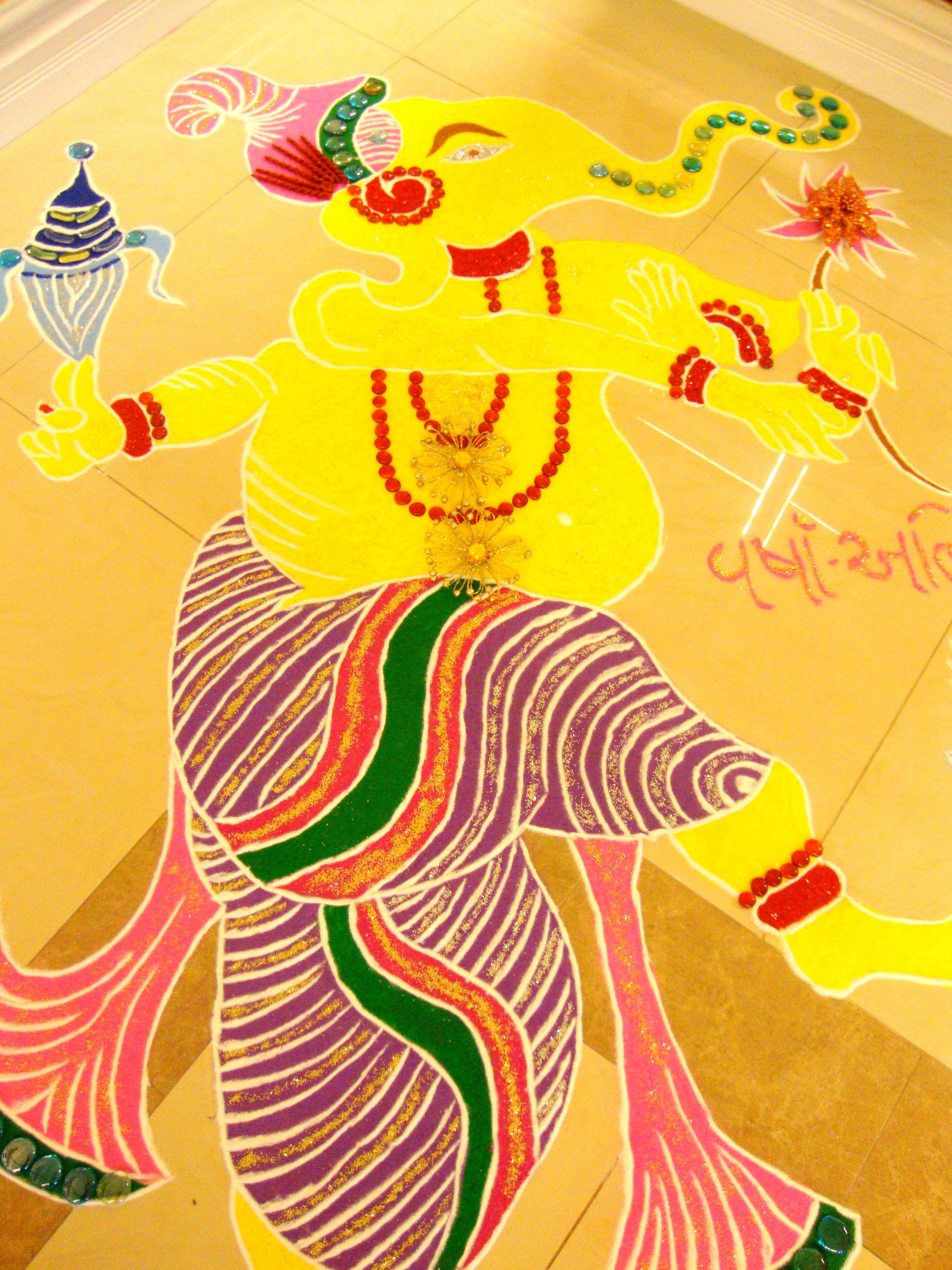 Rangoli design, Dancing Ganesha Rangoli #rangoli, # ...