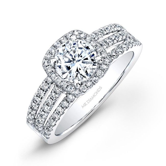round brilliant diamond thick band engagement rings | Halo Diamond  Engagement Ring With Wide Shank -