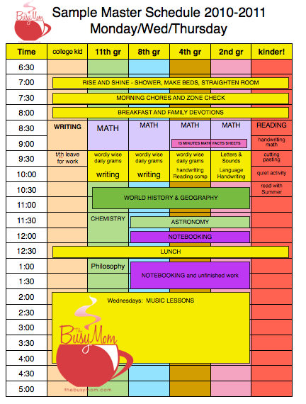 The Busy Mom - Scheduling Tips and a printable/editable schedule ...