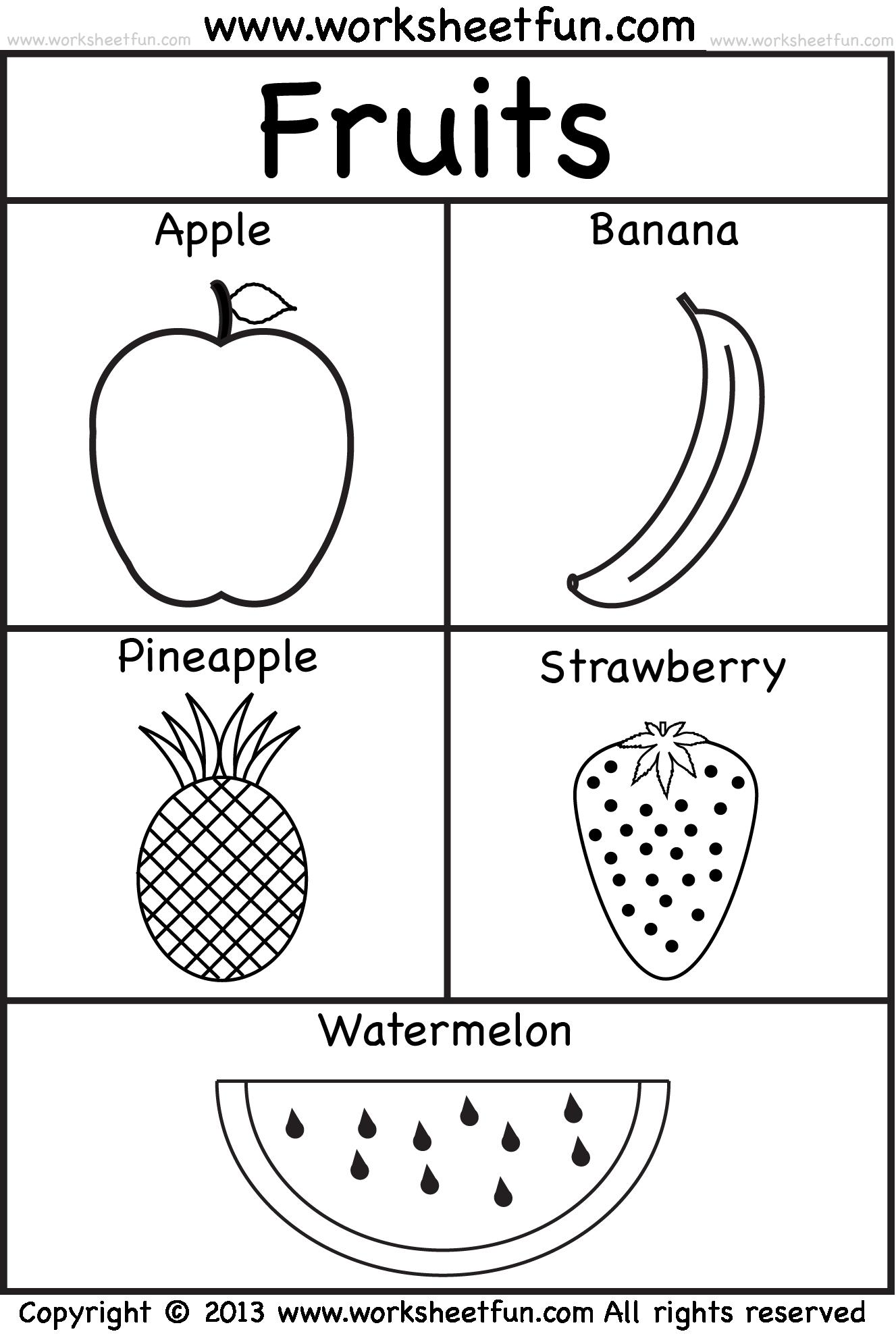 Fruits Places To Visit Kindergarten Worksheets