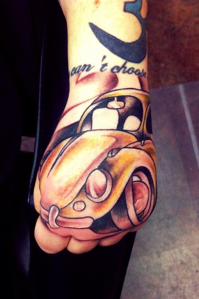 110a321e7ba54 Hand Tattoo Of Car By Justin Gahn Of New Age Tattoo In Marquette Mi