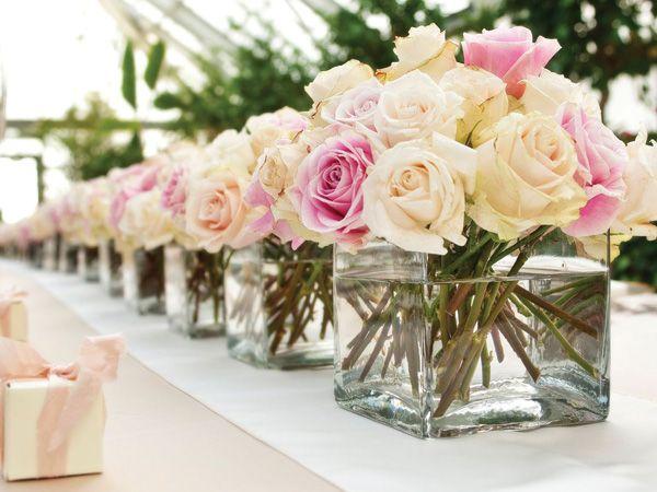 Centro mesa boda sencillo rosa y blanco Mesas Pinterest Bodas