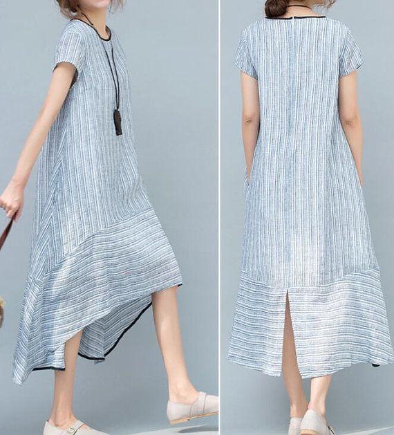 Light blue/ light pink asymmetrical Women summer dress by MaLieb