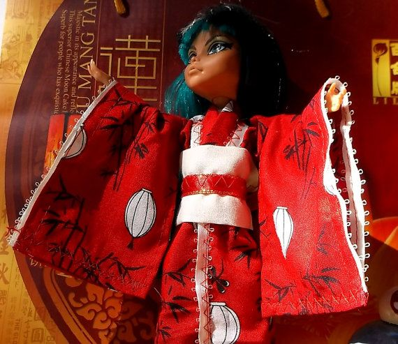 Monster High Doll Clothes  Custom Red Printed Kimono Paper Lanterns Dragonflies Bamboo Ever After High Doll Fashion