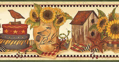 Sunflower Crocks Border Wallpaper Borders Amazon Com Tablolar Country Dekorasyonu Kus Evi