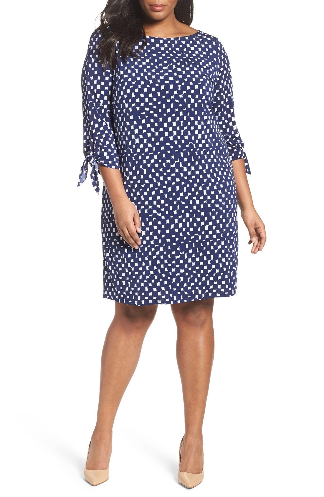 Tahari Tie Sleeve Matte Jersey Shift Dress (Plus Size ...