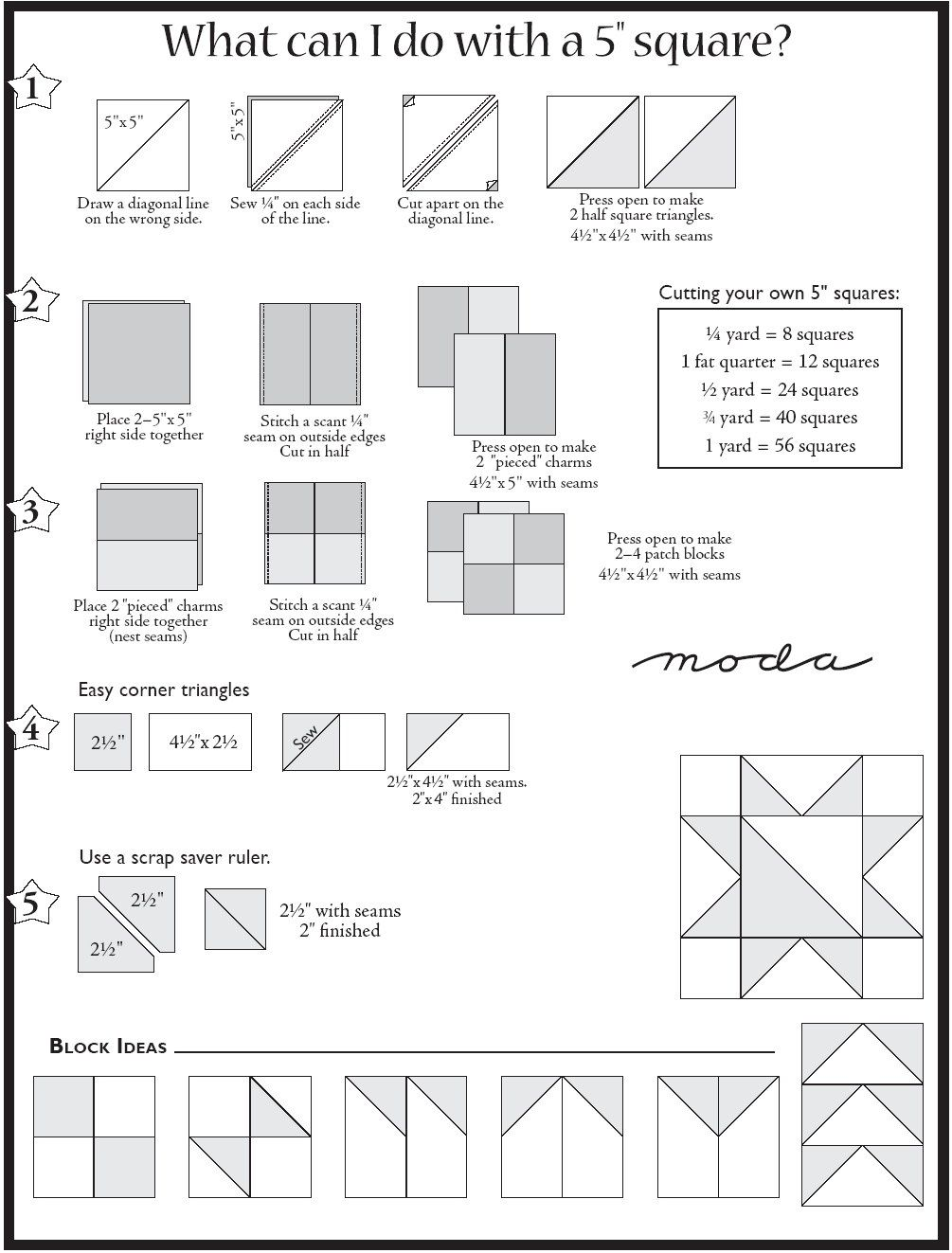5-inch square quick reference for getting different combos ... : 5 inch quilt block patterns - Adamdwight.com