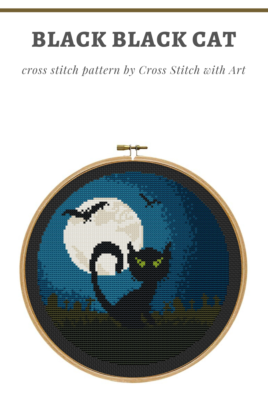 Halloween Cross Stitch Pattern Black Cat Cross Stitch Pdf Etsy Black Cat Cross Stitch Cross Stitch Patterns Black Cat Cross Stitch Pattern