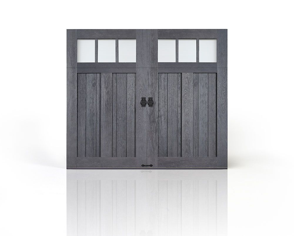 Clopay Canyon Ridge Collection Faux Wood Carriage House Garage Door Design 12 With Rec13 Grey Garage Doors Metal Garage Doors Garage Door Decorative Hardware