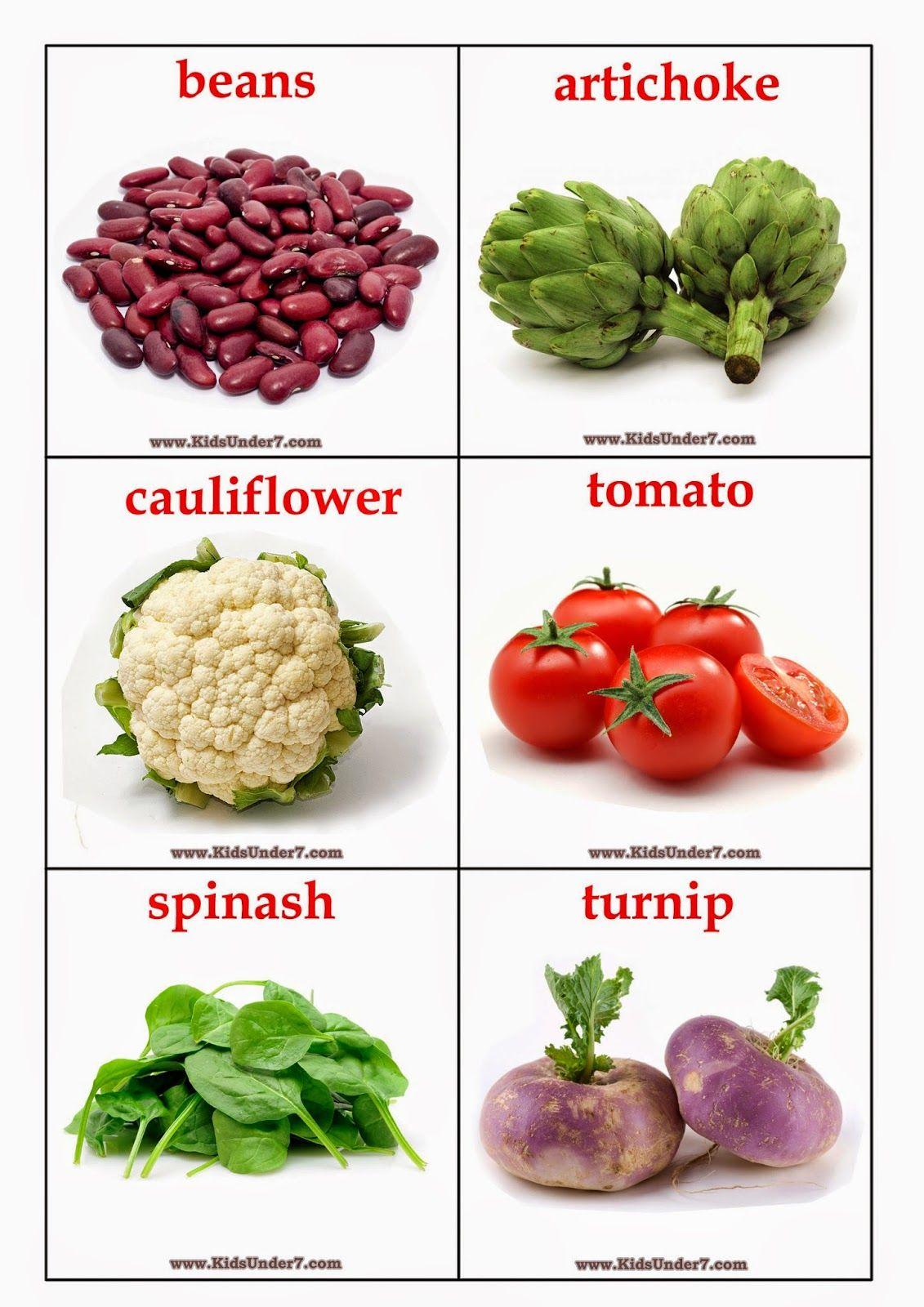 Kids Under 7 Vegetables Flashcards