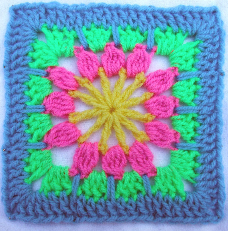 Crochet Pattern - Forest Flower Afghan Block - PDF | Cuadrados ...